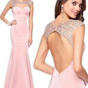 Long blush fitted beaded dress size 10 NEW